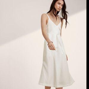 Aritzia Wilfred Linen Astere Canvas Wrap Dress